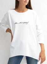 Cotton Jersey Long Tee's with 'Be Happy' Slogan