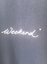 Soft Navy Cotton Lounge Top with 'Weekend' Slogan