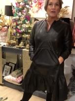 Black Leather Tier Dress