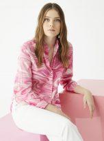 Isabella Shirt in Marble Pink Print