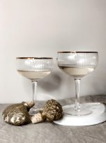 Ribbed Wine Glasses with Gold Rim