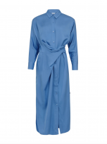 Blue Shirt Dress with Tying Detail