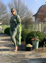 North Hydrangea Lime Green Duster Coat