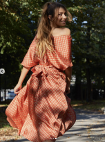 Patterned Dress with Bow