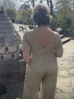 Embroidered Beige Jumpsuit