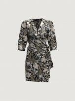 Floral Patterned Wrap dress in Black